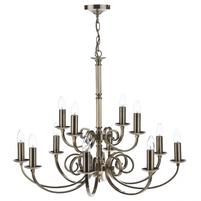 Murray Dual Mount Ceiling Pendant - 12 Light, Antique Brass