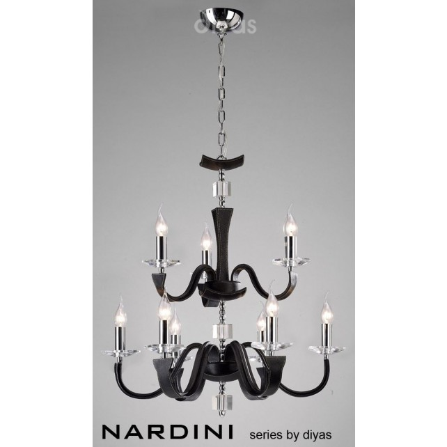 Diyas Nardini Pendant 9 Light Polished Chrome/Black Faux Leather/Crystal