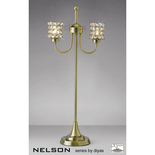 Diyas Nelson 2 Light Table Lamp Antique Brass/Crystal
