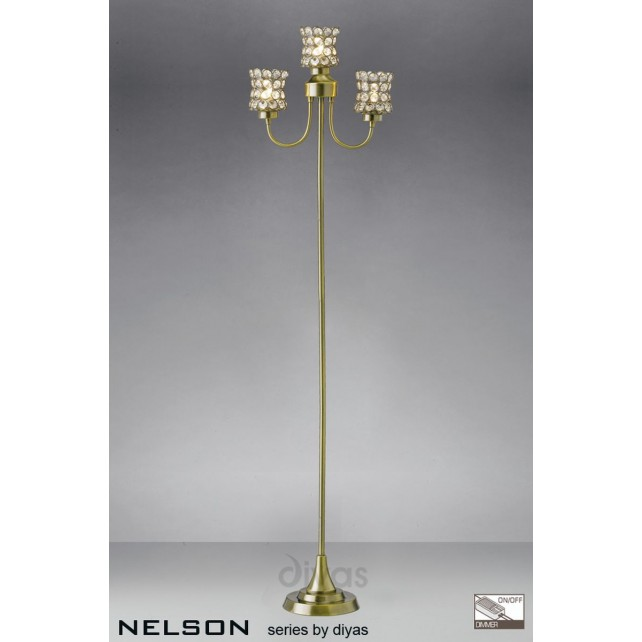 Diyas Nelson 3 Light Floor Lamp Antique Brass/Crystal