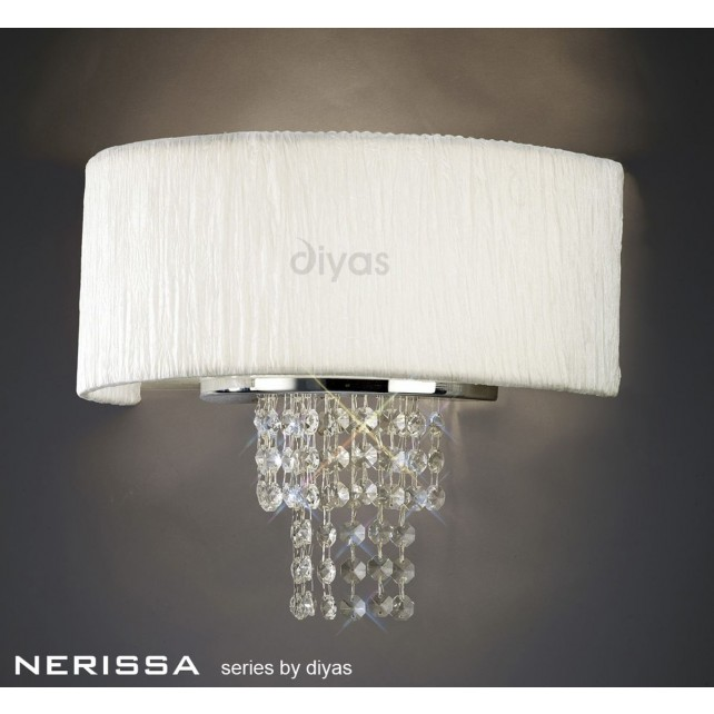 Diyas Nerissa Wall Lamp 2 Light Polished Chrome/Crystal With White Shade