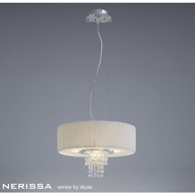 Diyas Nerissa Pendant 4 Light Polished Chrome/Crystal With White Shade