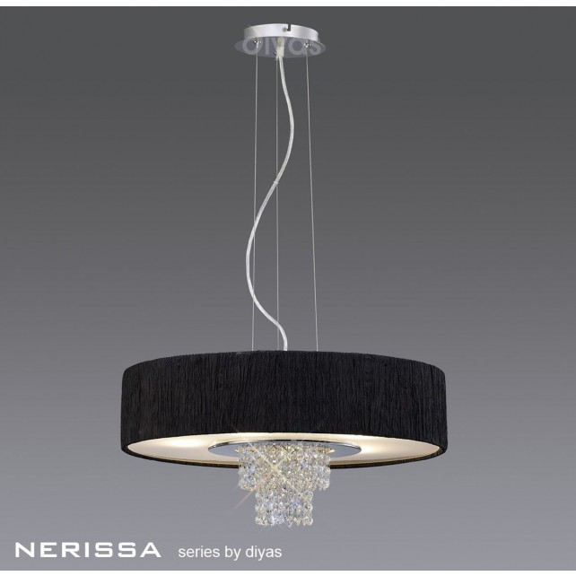 Diyas Nerissa Pendant 6 Light Polished Chrome/Crystal With Black Shade