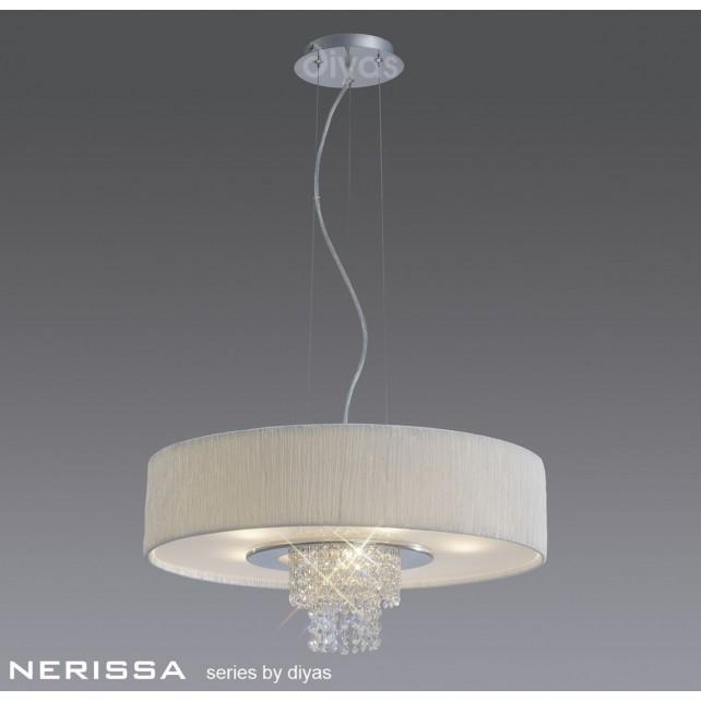 Diyas Nerissa Pendant 6 Light Polished Chrome/Crystal With White Shade