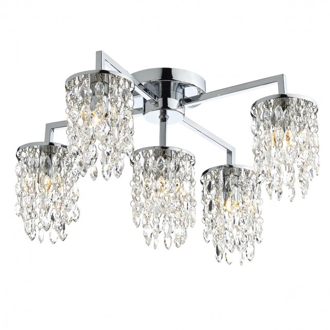Dar Niagra 5-Light Flush Polished Chrome