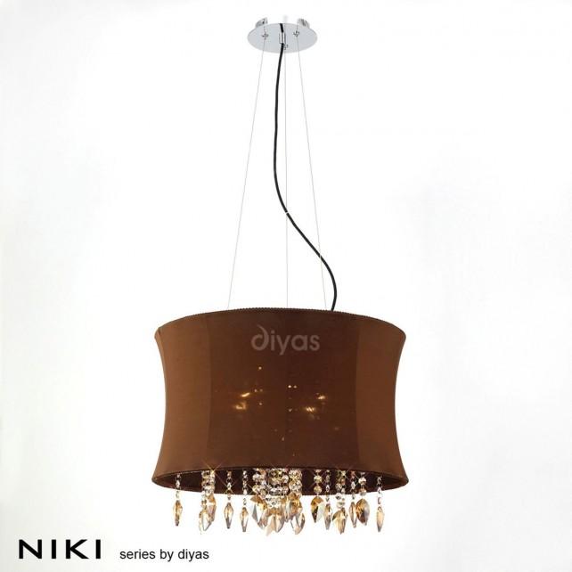 Diyas Niki Pendant 4 Light Polished Chrome/Coffee Crystal With Brown Shade