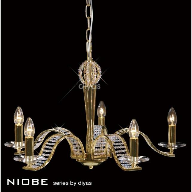 Diyas Niobe Pendant 5 Light Gold Plate