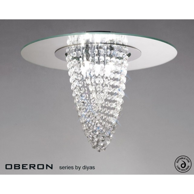 Diyas Oberon Ceiling 5 Light Polished Chrome/Crystal