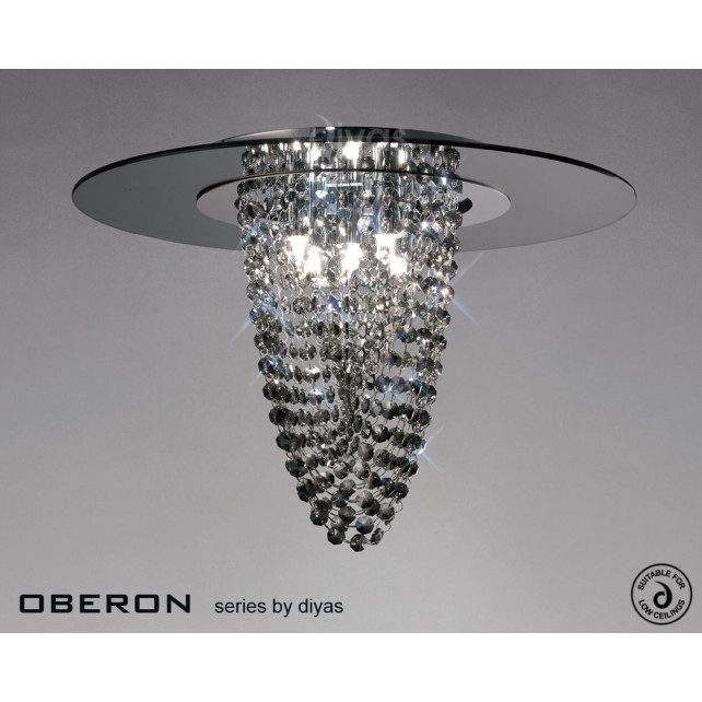 Diyas Oberon Ceiling 5 Light Polished Chrome/Smoked Mirror/Smoked Crystal