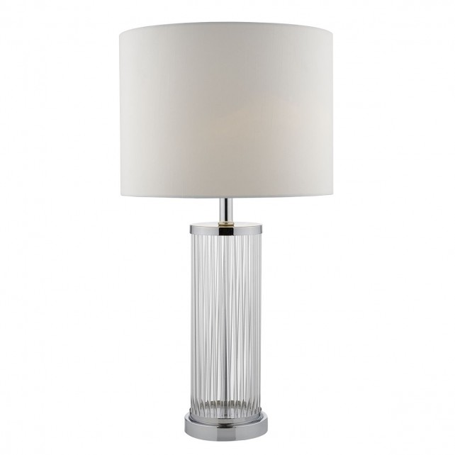 Olalla Table Lamp Polished Chrome And Clear Glass complete with Ivory Shade