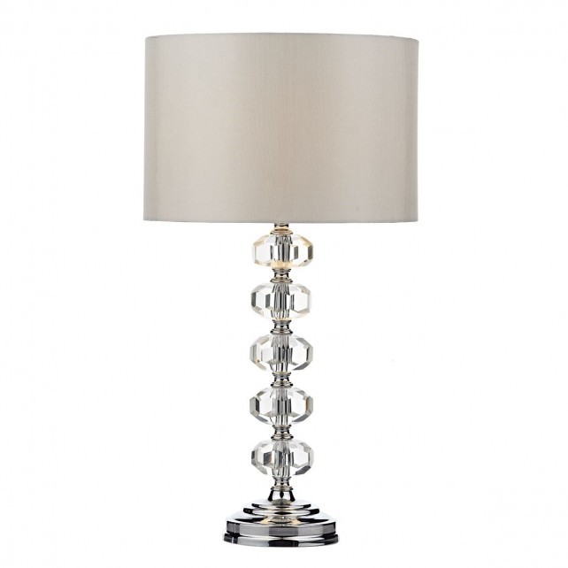 Oleana Table Lamp Polished Chrome Crystal complete with Shade