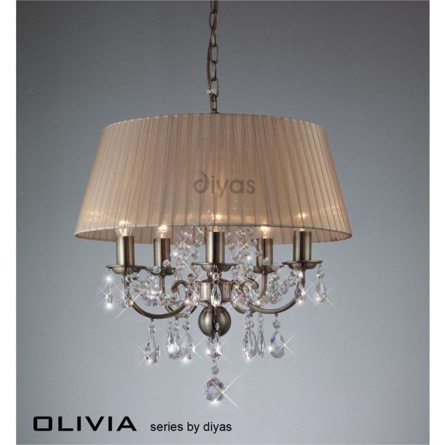 Diyas Olivia Pendant 5 Light Antique Brass/Crystal With Soft Bronze Shade