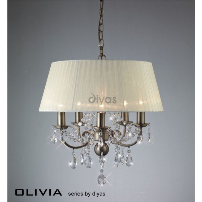 Diyas Olivia Pendant 5 Light Antique Brass/Crystal With Ivory Cream Shade