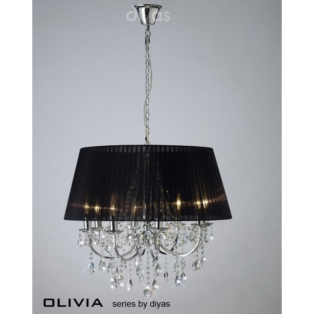 Diyas Olivia Pendant 8 Light Polished Chrome/Crystal With Black Shade