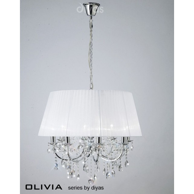 Diyas Olivia Pendant 8 Light Polished Chrome/Crystal With White Shade