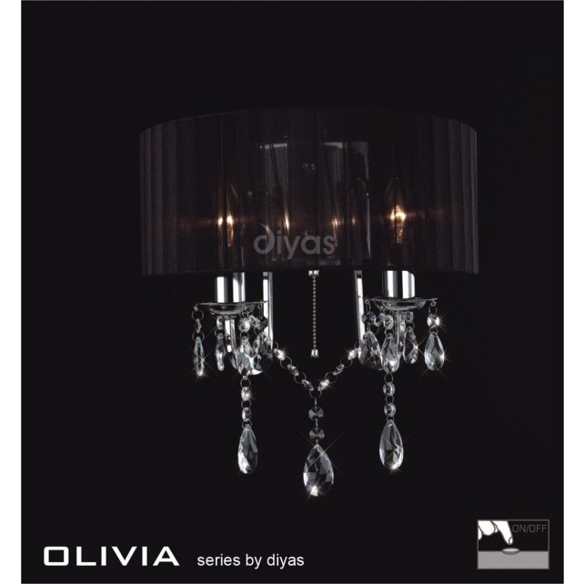Diyas Olivia Wall lamp 2 Light Polished Chrome/Crystal With Black Shade