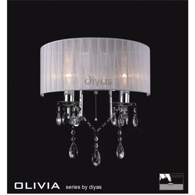 Diyas Olivia Wall lamp 2 Light Polished Chrome/Crystal With White Shade