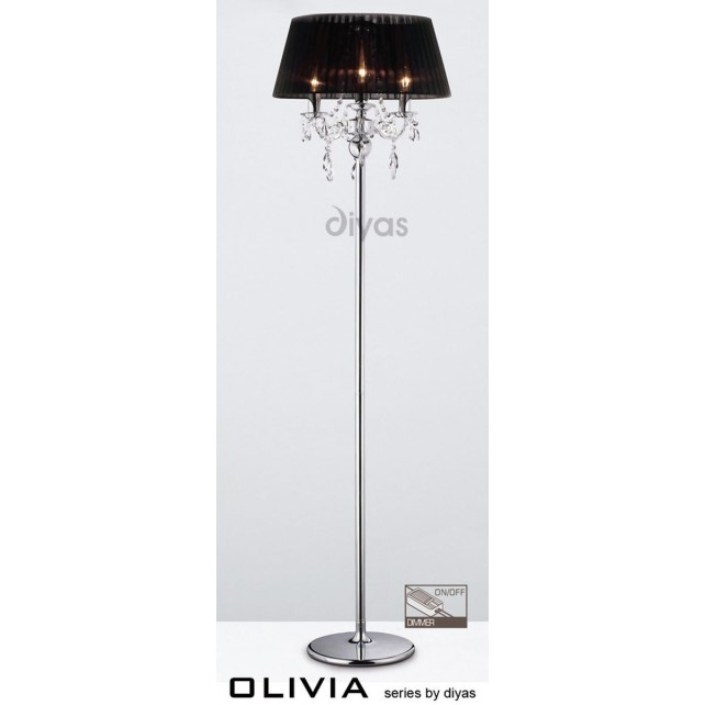 Diyas Olivia Floor Lamp 3 Light Polished Chrome/Crystal With Black Shade
