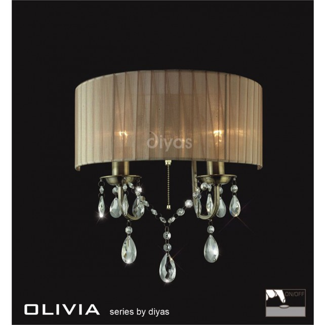 Diyas Olivia Wall Lamp 2 Light Antique Brass/Crystal With Soft Bronze Shade