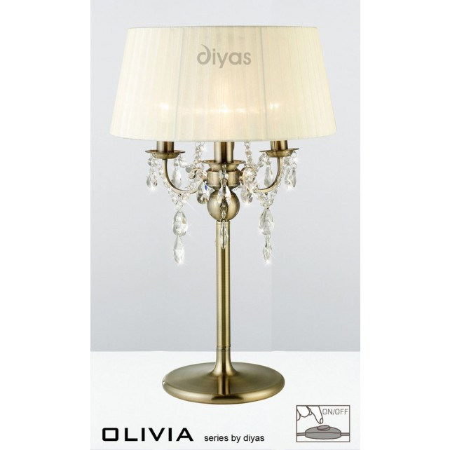 Diyas Olivia Table Lamp 3 Light Antique Brass/Crystal With Cream Shade