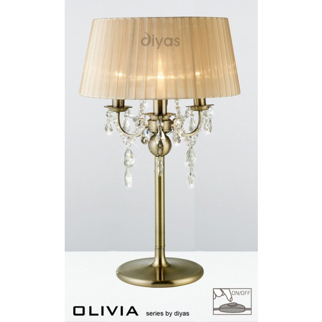 Diyas Olivia Table Lamp 3 Light Antique Brass/Crystal With Soft Bronze Shade