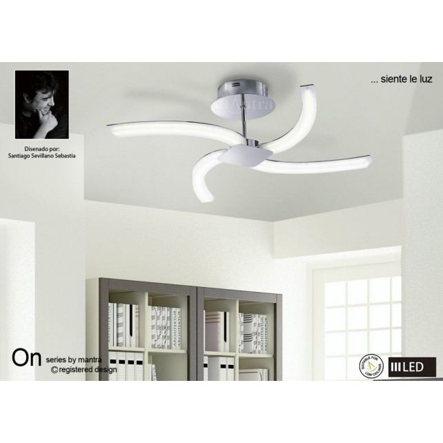 ON SEMI FLUSH 4 x 5w LED CHROME/WHITE ACRYLIC