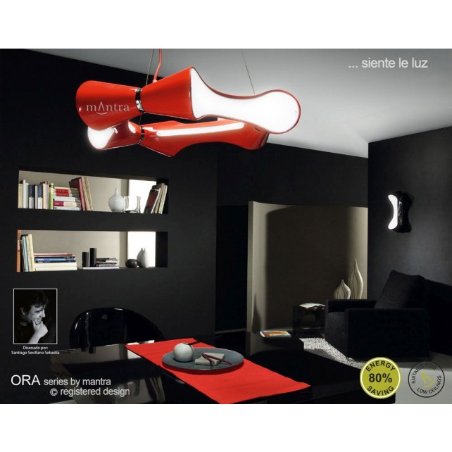 Ora Pendant 6 Light Round Polished Chrome/Red