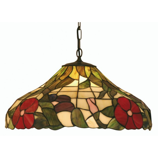Peonies Tiffany Ceiling Light - Large Pendant
