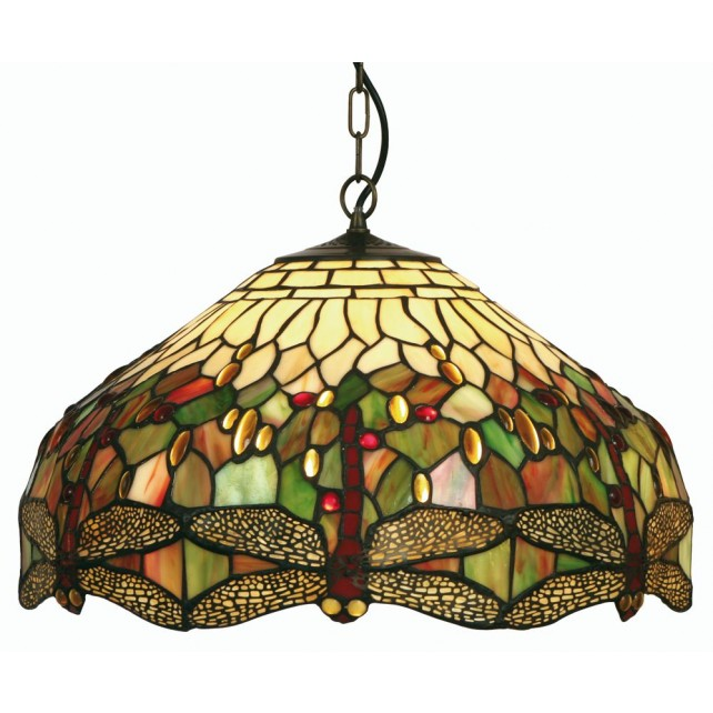 Dragonfly Tiffany Ceiling Light - Large Pendant