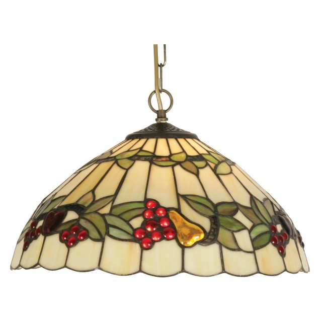 "Tiffany Fruit Pendant Light 16"" - Antique Brass"