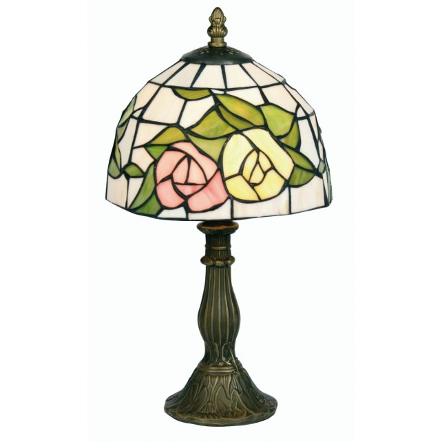 Tiffany Table Lamp - Pink and Yellow Flower 8""