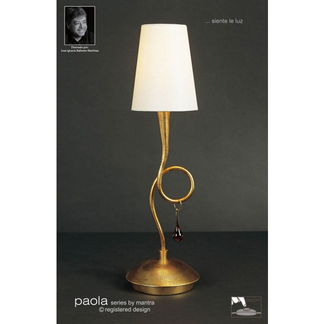 Paola Table Lamp 1 Light Gold Leaf