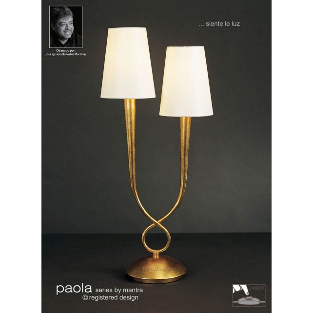 Paola Table Lamp 2 Light Gold Leaf
