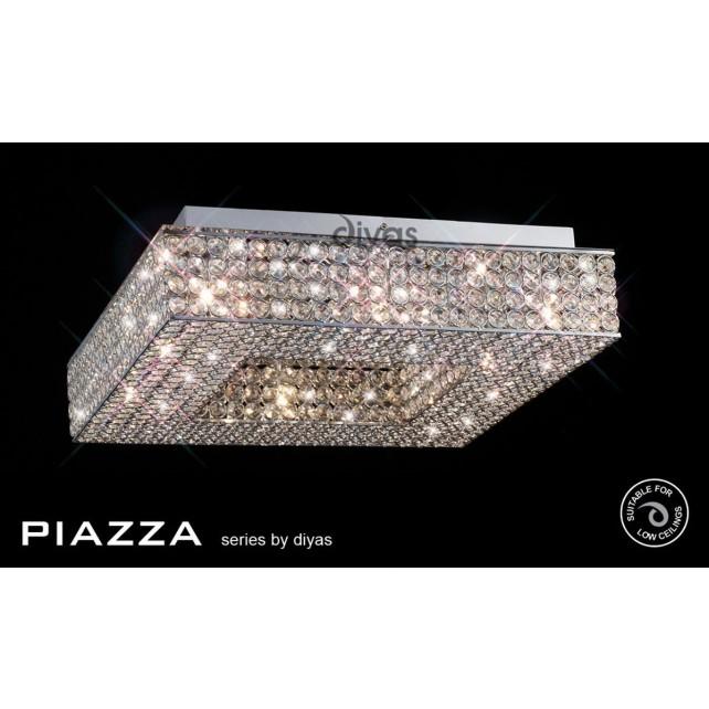 Diyas Piazza Ceiling 8 Light Polished Chrome/Crystal