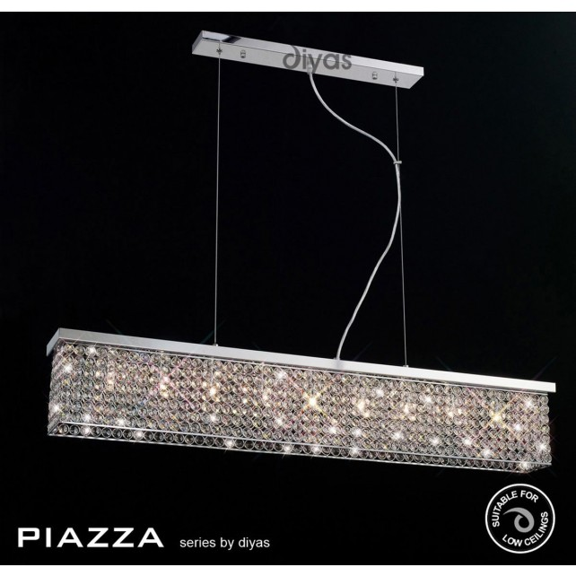 Diyas Piazza Pendant 9 Light Polished Chrome/Crystal