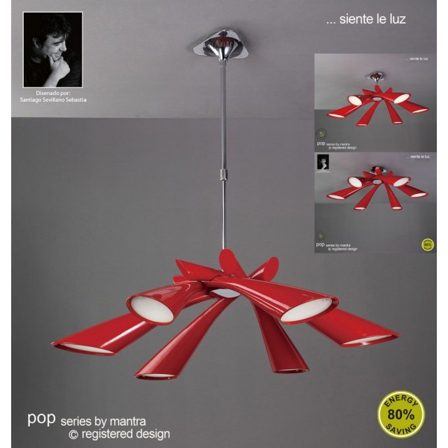 Pop Pendant 6 Light Red