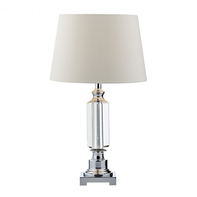 Puerto Table Lamp Crystal Polished Chrome complete with Shade
