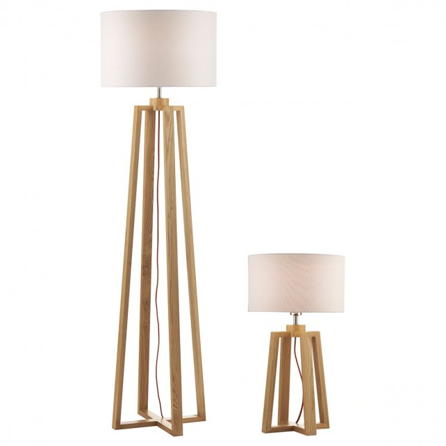Pyramid Pack of 2 Table And Floor Lamp - Wood, Complete with Shades