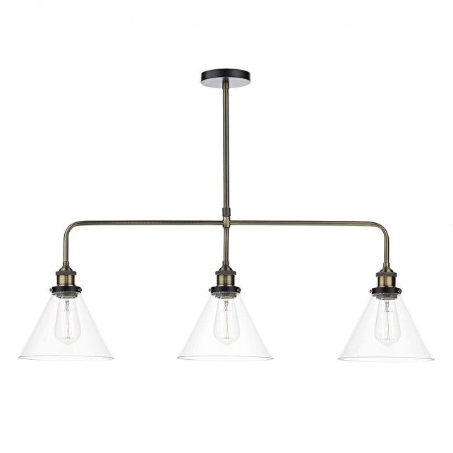 Ray 3 Light Bar Pendant Antique Brass Clear