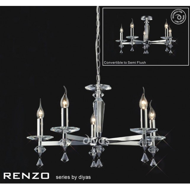 Diyas Renzo Pendant 5 Light Polished Chrome/Crystal