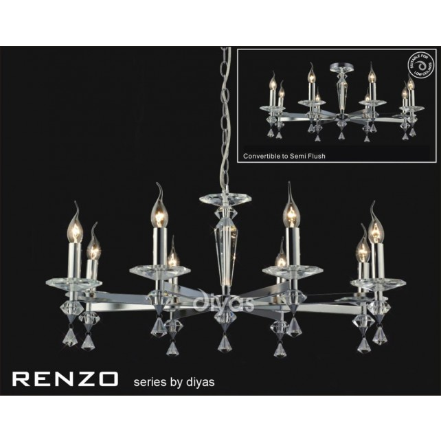 Diyas Renzo Pendant 8 Light Polished Chrome/Crystal