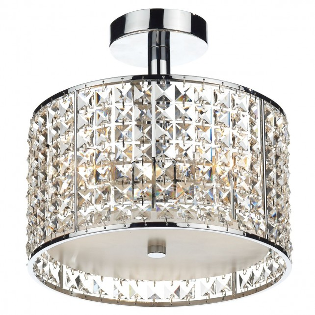 Rhodes 3 Light Semi Flush Polished Chrome/ Clear IP44