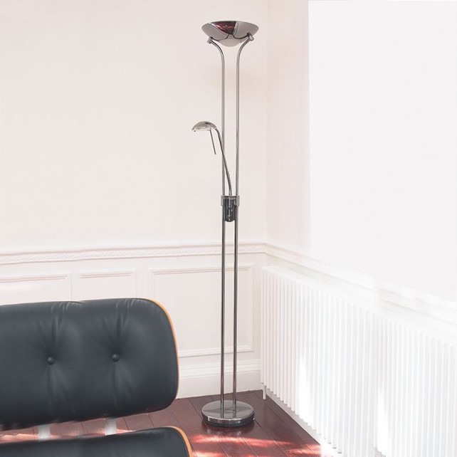 Mother and Child Floor Lamp - Chrome