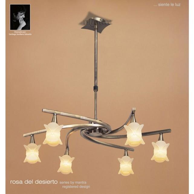 Rosa Del Desierto Telescopic Pendant 6 Lights Antique Brass