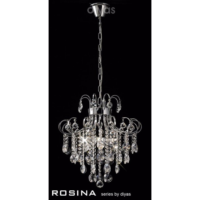 Diyas Rosina Pendant 5 Light Polished Chrome/Crystal