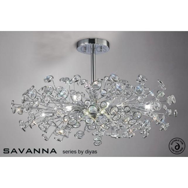 Diyas Savanna Ceiling 8 Light Polished Chrome/Crystal