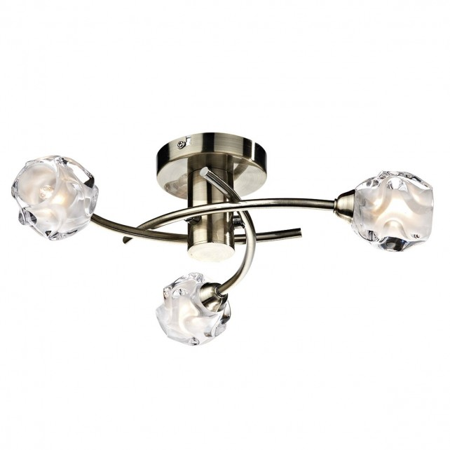 Seattle 3 Light Semi Flush - Antique Brass