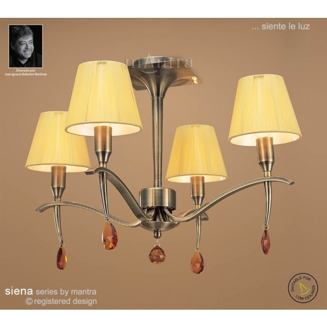 Siena Semi Ceiling 4 Light Antique Brass With Amber Silk String Shade And Amber Crystal