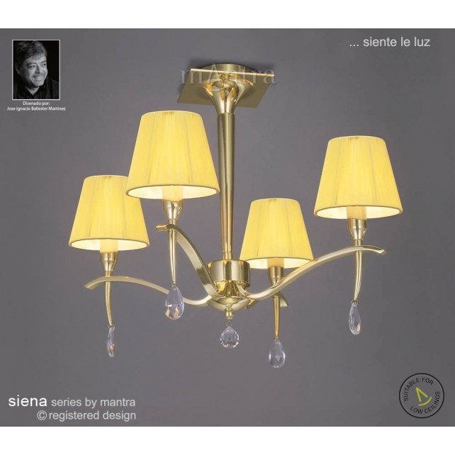 Siena Semi Ceiling 4 Light Polished Brass With Amber Silk String Shade And Clear Crystal