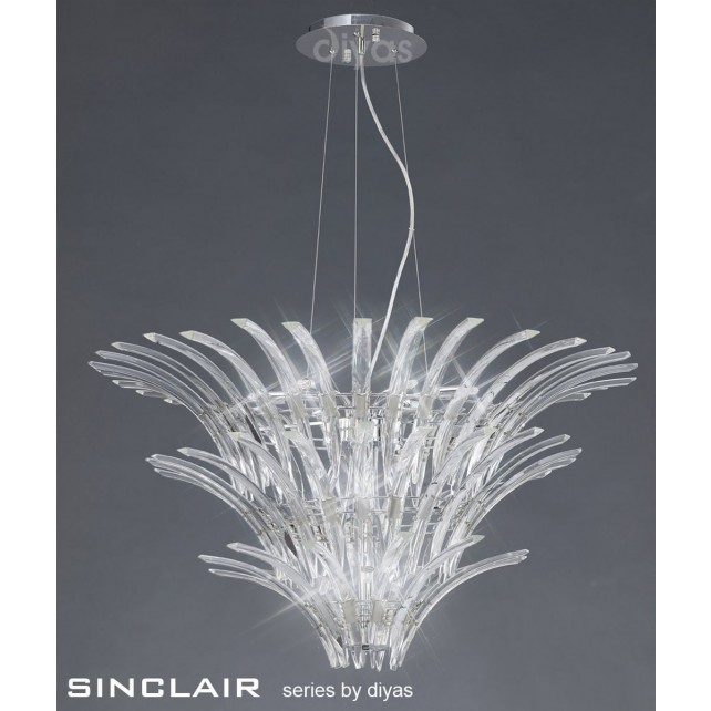 Diyas Sinclair Pendant 12 Light Polished Chrome